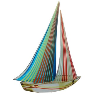 1980s Vintage Sailboat Sculpture by Alberto Dona For Sale
