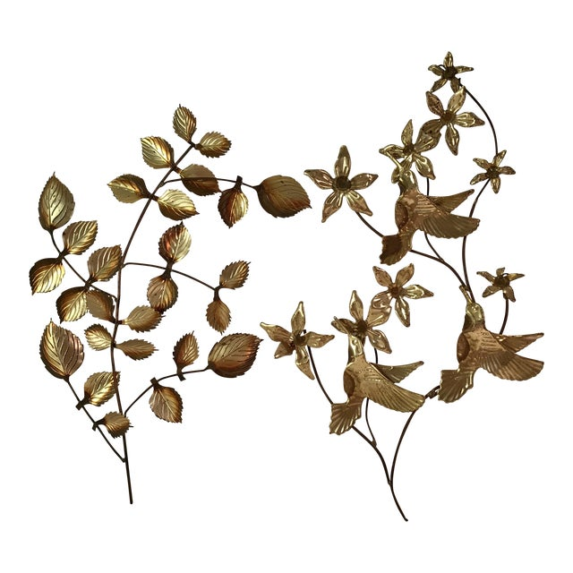 Mid-Century Metal Leaf Wall Art - A Pair For Sale