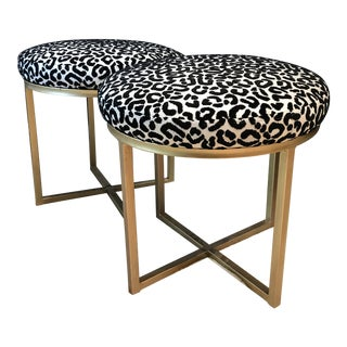 Modern Cheetah Print Black, White & Gold Round Stools- A Pair For Sale