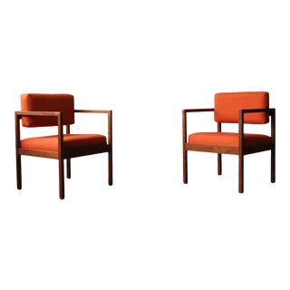 Mid Century Modern Floating Back Square Chairs- A Pair For Sale