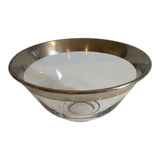 1940s Art Deco Silver Rimmed Bowl For Sale