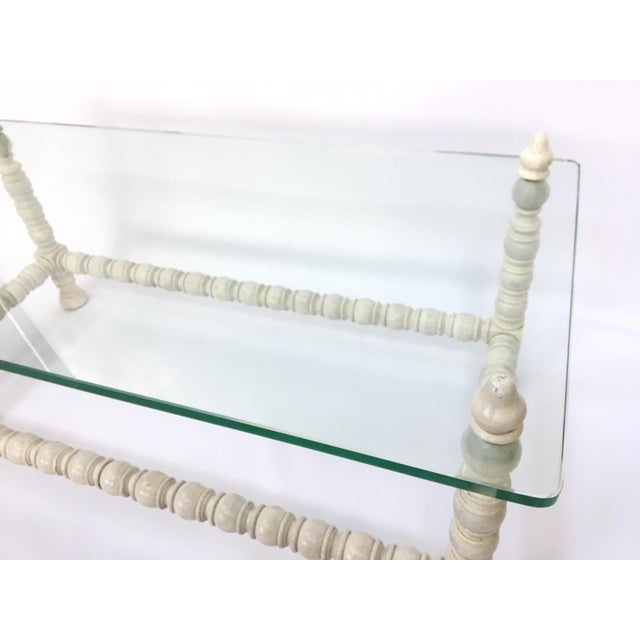 Hollywood Regency Wood & Glass Bobbin Leg Coffee Table - Image 5 of 6