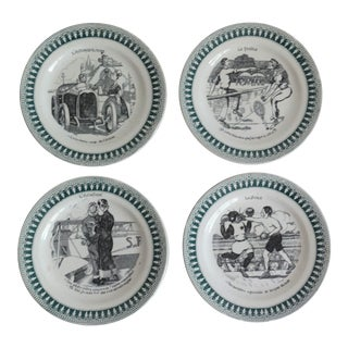 1920s Vintage French Sporting Humorous Faience Plates- Set of 4 For Sale