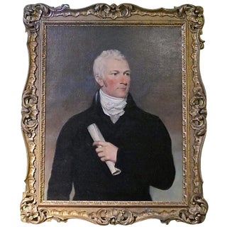 Period Portrait of Handsome American Gentleman Painting For Sale