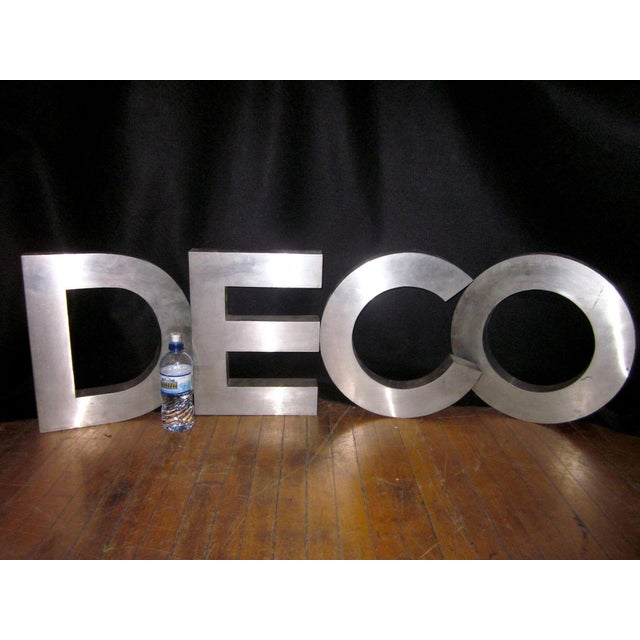 "Vintage""Deco"" Stainless Steel Phrase Display Letters Advertising Signage For Sale - Image 4 of 9"