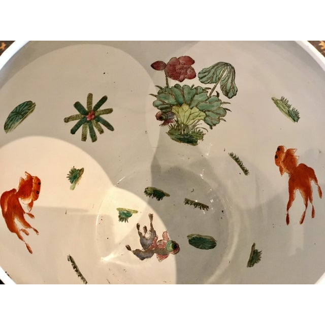Large Vintage Asian Porcelain Fish Bowl With Black and Copper Glaze For Sale - Image 4 of 6