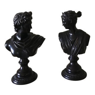 Vintage Black Neoclassical Man and Woman Busts - a Pair For Sale