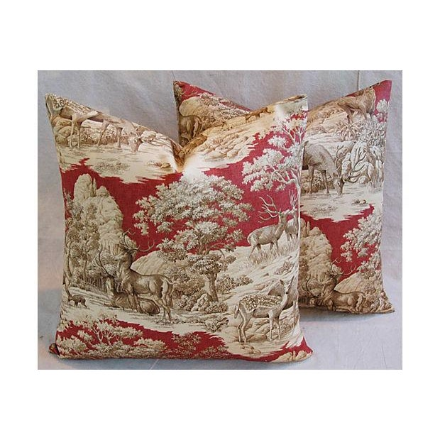 Custom French Woodland Deer Toile Pillows - Pair - Image 7 of 8