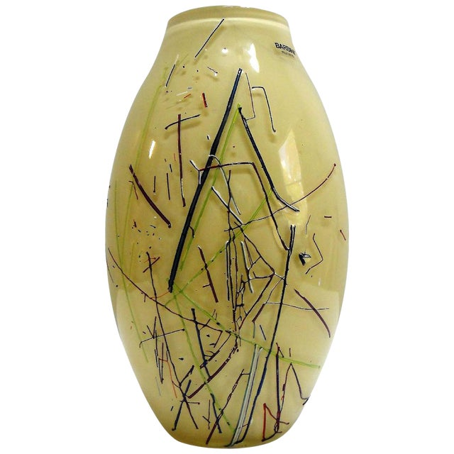 Large Barbini Murano Art Glass Vase For Sale