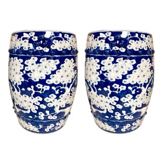 Pair of Blue and White Chinoiserie Garden Stools For Sale