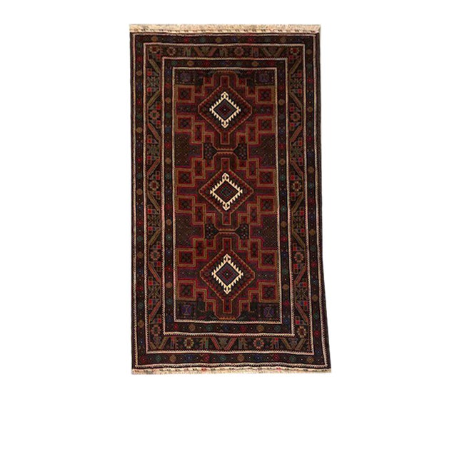 Boho Chic Traditional Hand Knotted Purple, Fuchsia, Brown, White and Green Baluchi Rug - 3′9″ × 6′5″ For Sale - Image 3 of 3