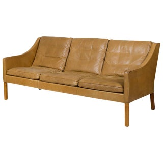 Borge Mogensen Model #2209 Three-Seat Leather Sofa For Sale