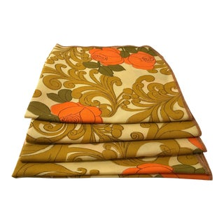 Mid Century Orange Green and Gold Patterned Napkins - Set of 4 For Sale