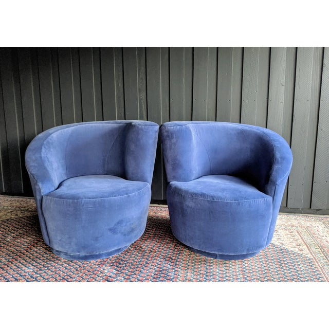 Vladimir Kagan Nautilus Swivel Chairs Reupholstered in Blue Velvet, a Pair For Sale - Image 10 of 13
