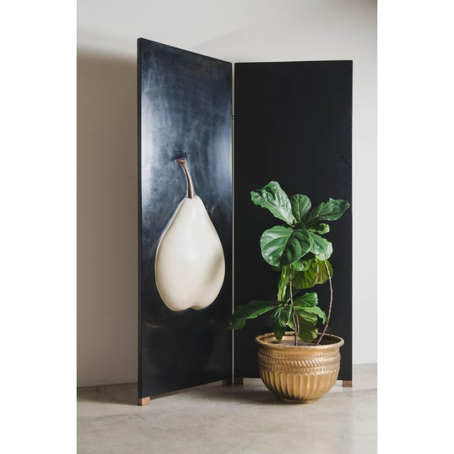 2010s 2 Panel Hand Repousse Black Lacquer Screen With Cream Pear by Robert Kuo, Limited Edition For Sale - Image 5 of 7
