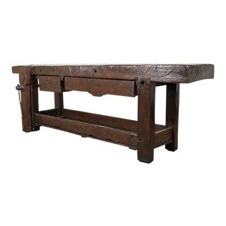 19th Century Industrial Chestnut Etabli or Carpenter's Workbench For Sale