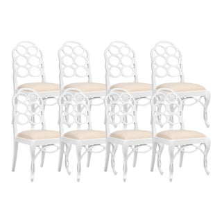 Bungalow 5 White Lacquered Mahogany Loop Dining Chairs - Set of 8