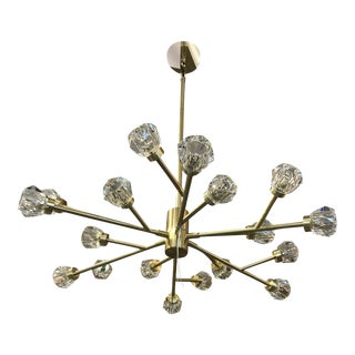 Gold Frame Chandelier With Crystal Ball Shades For Sale