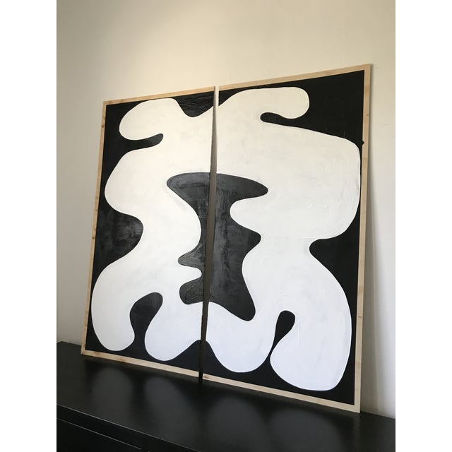 This is a Hannah Polskin original black and white abstract acrylic painting on plywood. The 2018 piece displays a...