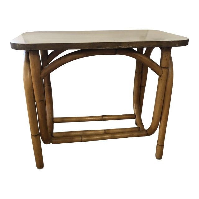 1970s Boho Chic Rattan Side Table With Laminate Top For Sale