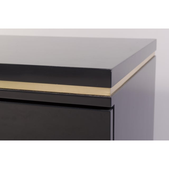 Mid-Century Grey Lacquer & Brass Greek Key Pulls Nightstands - Pair - Image 7 of 7