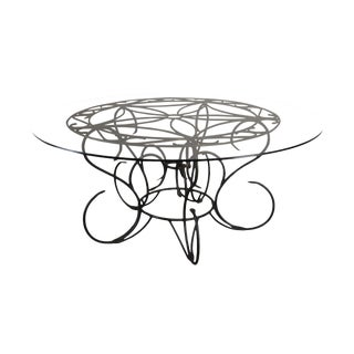"Tuscan Style Scrolled Iron 72"" Round Glass Top Dining or Center Table For Sale"