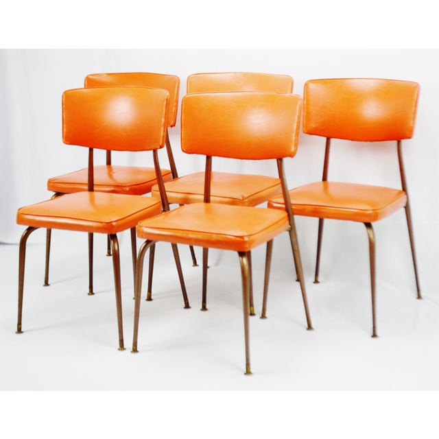 Mid-Century Modern Orange Dining Chairs - Set of 5 - Image 3 of 11