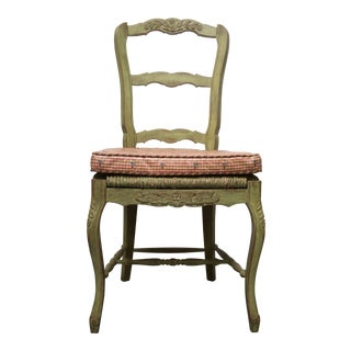 Pair of Green-Painted Oak Louis XV Style Side Chairs For Sale