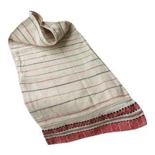 Antique Folk Art Hand-Woven Red & Black Stripes Textile For Sale