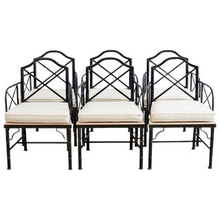 Chinese Chippendale Faux Bamboo Iron Garden Chairs For Sale