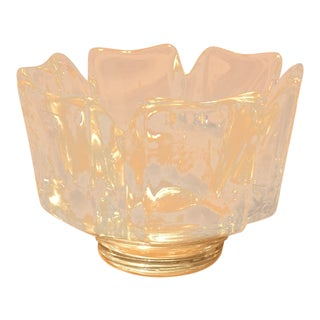 1970s Vintage Nwob Orrefors Swedish Crystal Corona Bowl For Sale