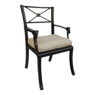 Vintage Kenneth Lynch & Sons Neoclassical Wrought Iron Rams Head Arm Chair For Sale