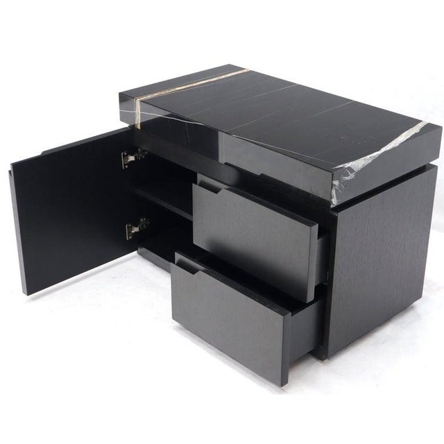 Black Marble Top Black Lacquer Contemporary Short Credenza Console For Sale - Image 11 of 13