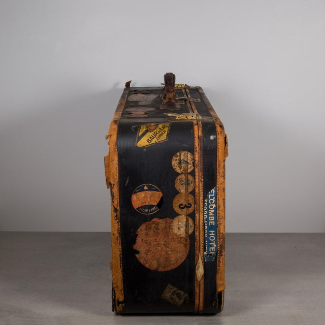 Gold Antique Luggage With Original Travel Stickers C.1900-1930 For Sale - Image 8 of 11
