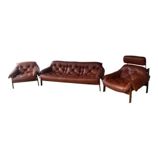 Mid-Century Modern Percival Lafer Brazilian Rosewood Lounge Sofa & Easy Chair Suite For Sale