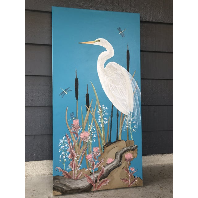"""""""Nothing to Egret"""" measures 24"""" X 48"""" and is acrylic on canvas painted by artist Allison Cosmos. The wispy feathers of..."""