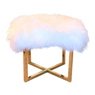 Hollywood Regency White Sheepskin & Gold Bench For Sale