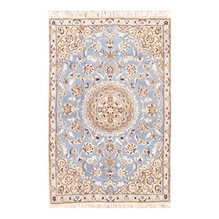 "Persian Nain Silk & Wool Rug - 2'10"" X 4'5"" For Sale"