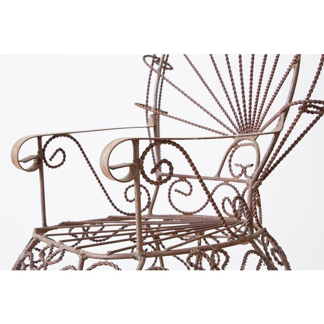 Pair of Salterini Iron Peacock Salesman Sample Chairs For Sale - Image 4 of 13