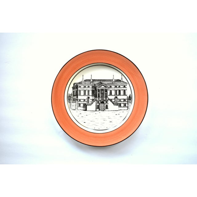 Ceramic Vintage Italian Mottahedeh Creil Creamware Neoclassical Palazzo Architecture Small Plates With Coral Border - Set of 4 For Sale - Image 7 of 11