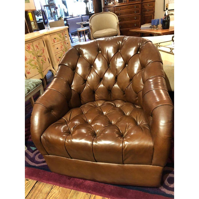 1970s Mid-Century Modern Tufted Leather Swivel Club Chairs - a Pair For Sale - Image 10 of 11