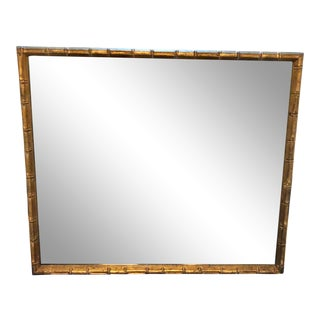 1970s Vintage Palm Beach Style Faux Bamboo Gilt Wood Mirror For Sale