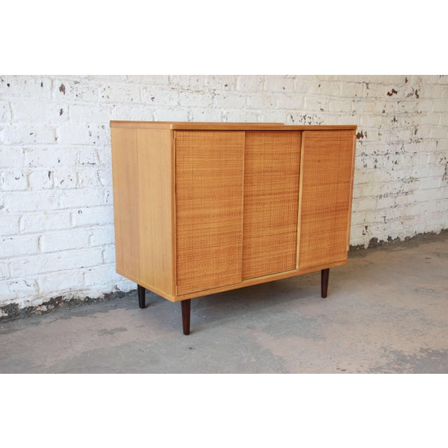 Mid-Century Modern Edward Wormley for Dunbar Woven Front Cabinet For Sale - Image 3 of 11