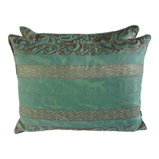 Aqua Green Fortuny Pillows, a Pair $495 For Sale