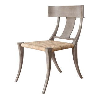 Lawson Gray Finish Mahogany with Rattan Seat Chair For Sale