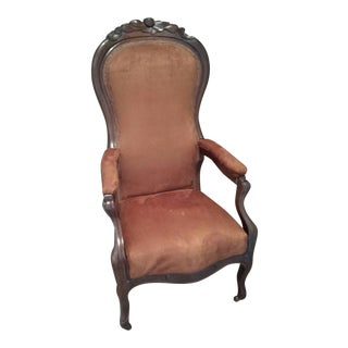 1900s Victorian Copper-Colored Fabric Lincoln Chair For Sale