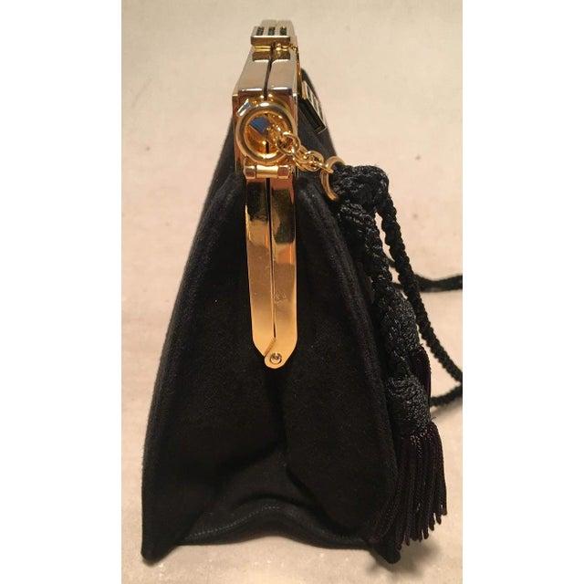 Hollywood Regency Judith Leiber Black Suede Evening Bag Clutch With Silk Tassel For Sale - Image 3 of 10