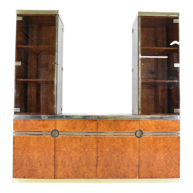 1970s Pierre Cardin Signed Burl Wood Sideboard With Two Tower Cabinets, France For Sale