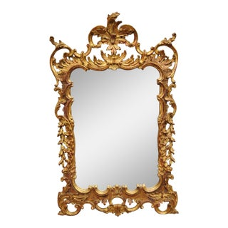 Vintage Gold Leaf French Louis XV Rococo Style Console Wall Mirror For Sale
