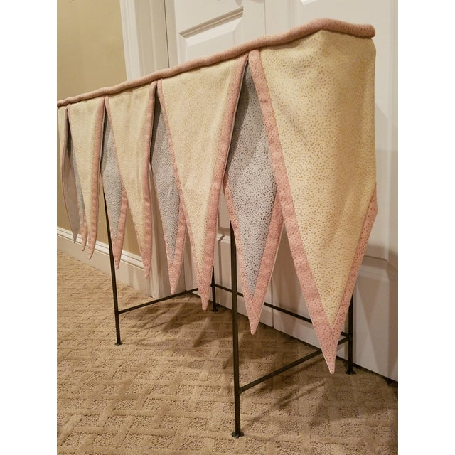 "These custom-made valences are wood mounted and measure 40"" wide x 16 1/2"" from top to tip. Material is a combination of..."